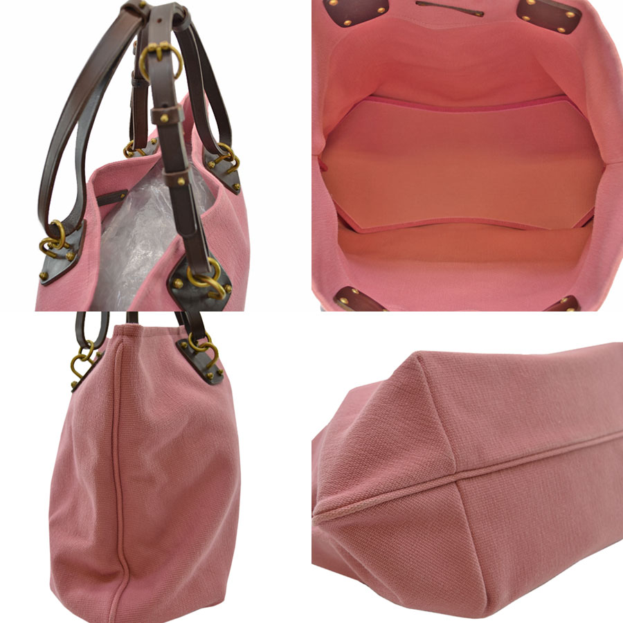 It is ボッテガヴェネタ  BOTTEGA VENETA  tote bag shoulder bag Lady s pink x brown  cotton canvas x leather  soot   used  dfdbe3efd4b22