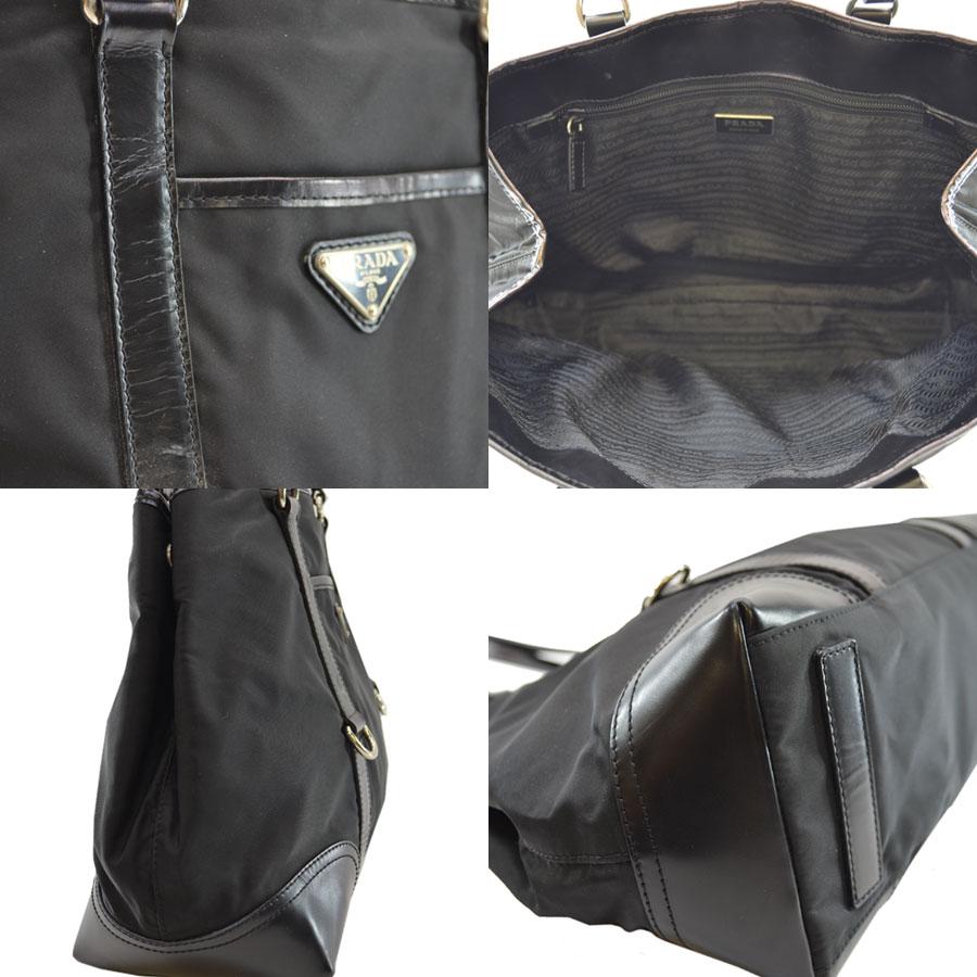 a148c862b356  basic popularity   used  a Prada  PRADA  triangle plate shoulder bag tote  bag Lady s NERO (black) x silver Karana irone x leather x metal material