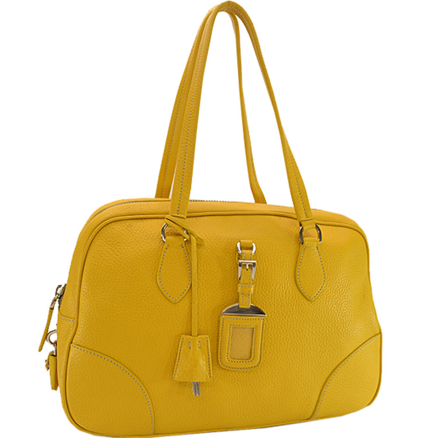 9ee993607a32 [basic popularity] [used] Prada [PRADA] triangle logo handbag shoulder bag  Lady's yellow leather