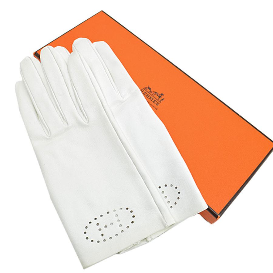 エルメス HERMES 手袋 7 1/2 ホワイト レザー グローブ レディース 【中古】【定番人気】 - r7784c