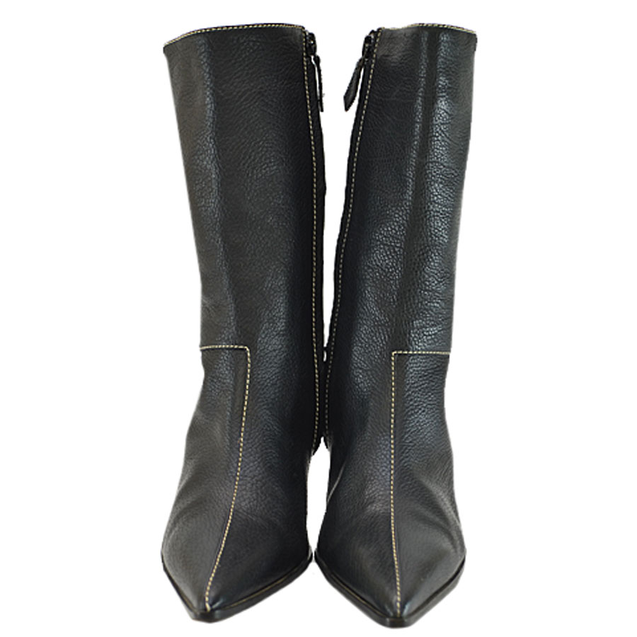 Hermes Leather Hermes Boots37Black Y13048 Lady's kOXPZui