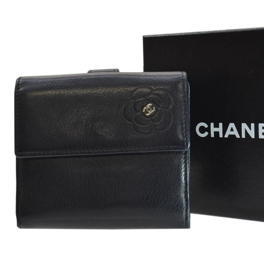 シャネル CHANEL 財布 カメリア ココマーク ブラックxシルバー レザーx金属素材 二つ折り Wホック レディース定番人気51670rhQtdxsC