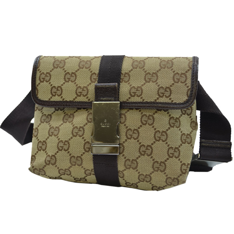 b07dfaf59784c It is Gucci  GUCCI  GG pattern bum-bag waist porch Lady s men beige x brown  canvas x leather  soot   used