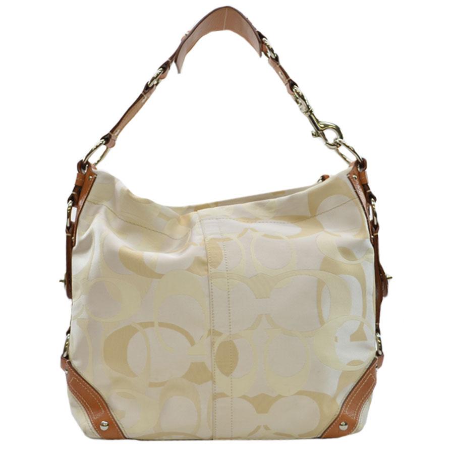 Coach COACH shoulder bag signature white x beige x brown x silver canvas x leather x metal material Lady's 9,800 yen uniform - k6564
