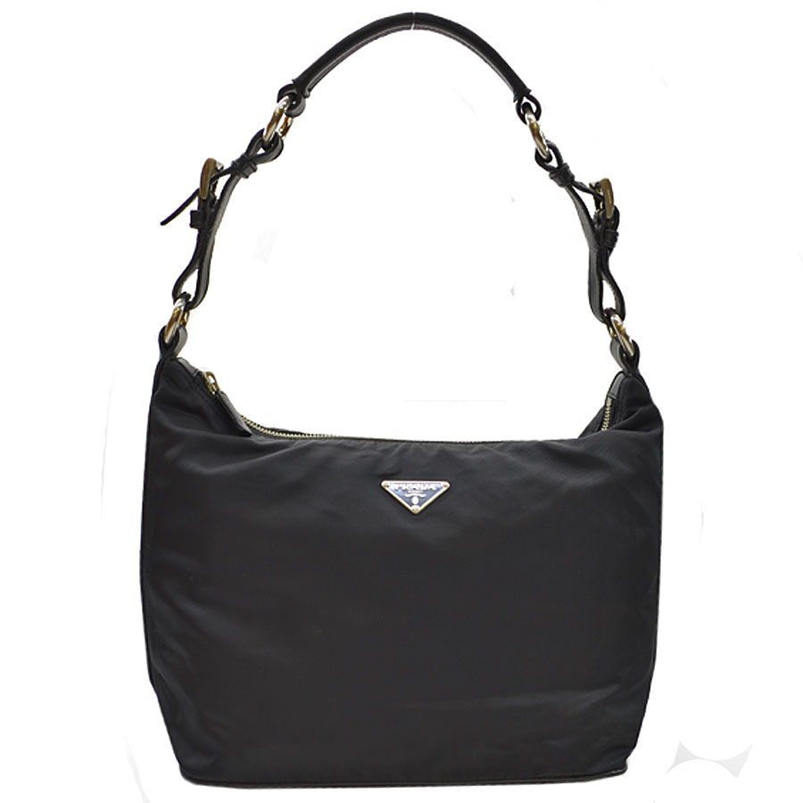 1014772b1570  basic popularity   used  Prada  PRADA  triangle logo shoulder bag Lady s black  nylon x leather