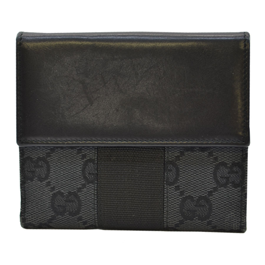 309154a7464  basic popularity   used  Gucci  GUCCI  GG pattern W hook folio wallet  Lady s men black canvas x leather