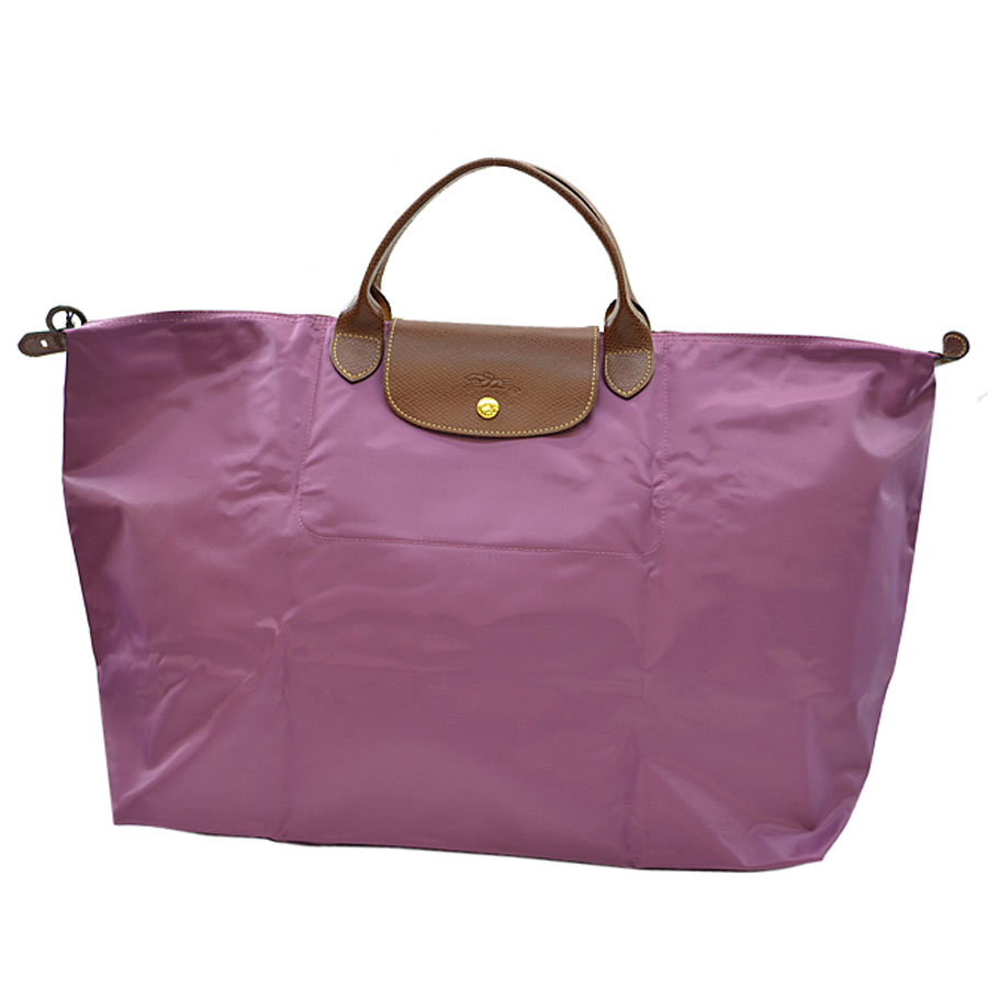 f2219301280 [basic popularity] [used] Longchamp [LONGCHAMP]  ルプリアージュトートバッグハンドバッグレディースボルドー x brown nylon x leather