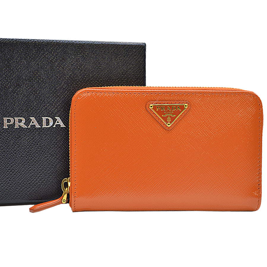 670ae47366b  basic popularity   used  Prada  PRADA  triangle logo plate round fastener  wallet Lady s orange leather