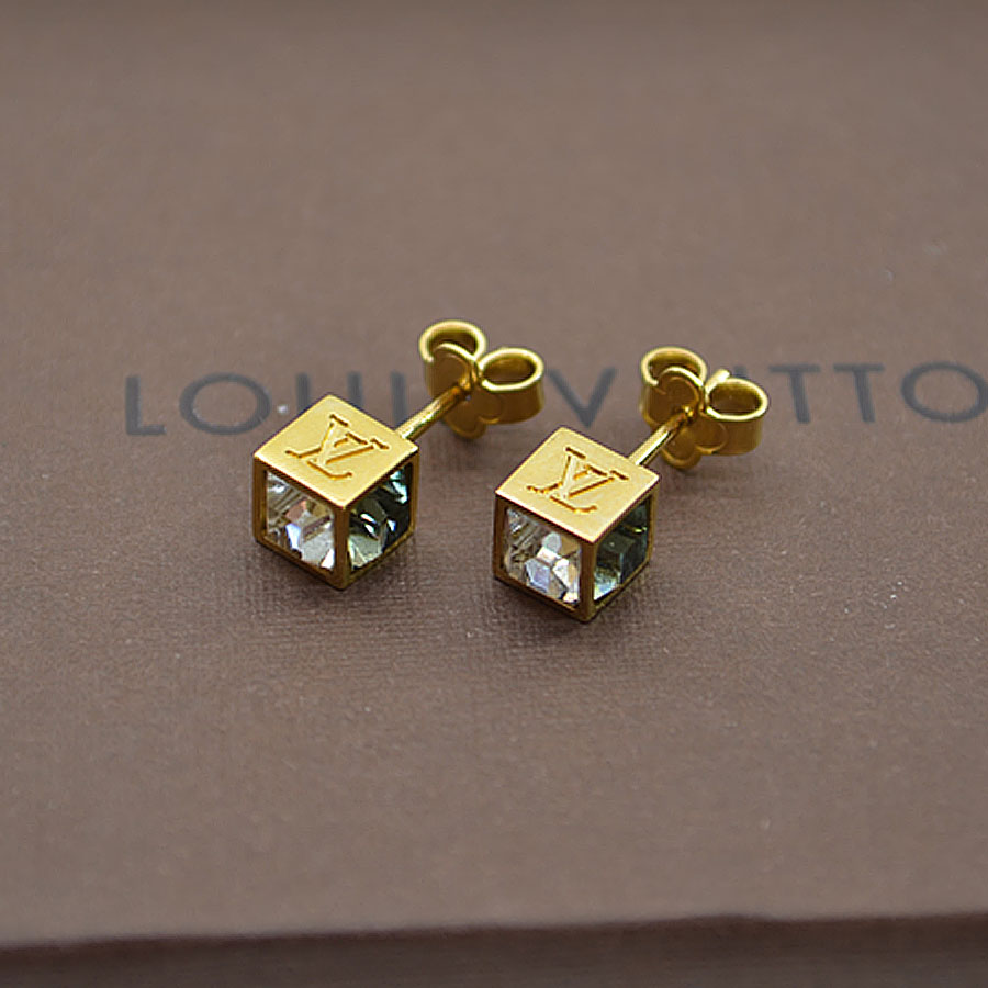 It Is Louis Vuitton Cube Pierced Earrings Lady S Gold X Clear Black Metal Material Crystal Soot Used