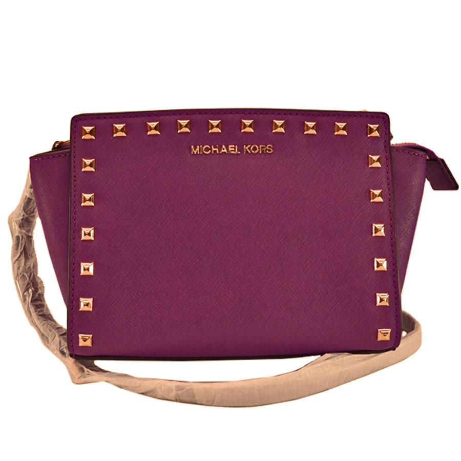 f154c564bbb1 BrandValue: Take a Michael Kors MICHAEL KORS shoulder bag purple x gold  leather x metal material slant; lady's - k8550 | Rakuten Global Market