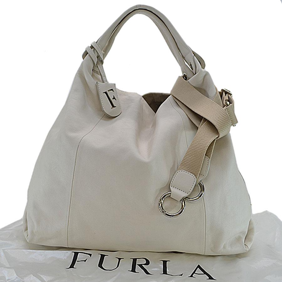 Take フルラ Furla Handbag White Leather Slant Shoulder Bag 2way Lady 87 207