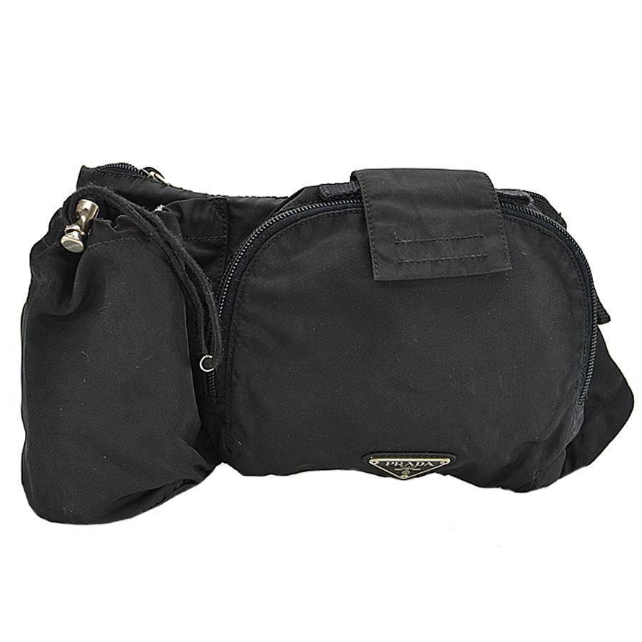 d3d0e5550c1f  basic popularity   used  a Prada  PRADA  triangle logo waist porch bum-bag  hips bag lady men black nylon x metal material
