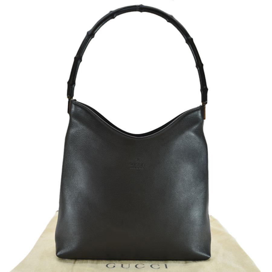 6f63f3880f BrandValue: Gucci GUCCI shoulder bag bamboo black leather x bamboo Lady's -  k8728 | Rakuten Global Market