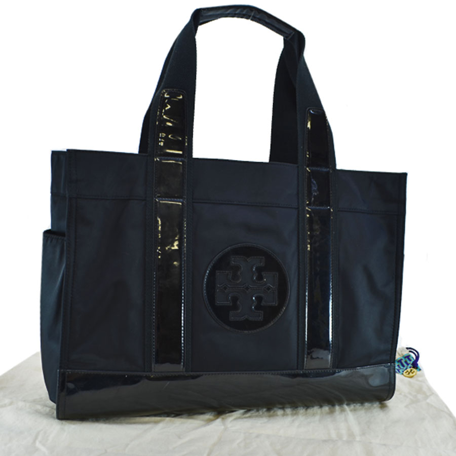297aa097a9a  basic popularity   used  Tolly Birch  TORY BURCH  tote bag shoulder bag  Lady s black nylon x patent leather
