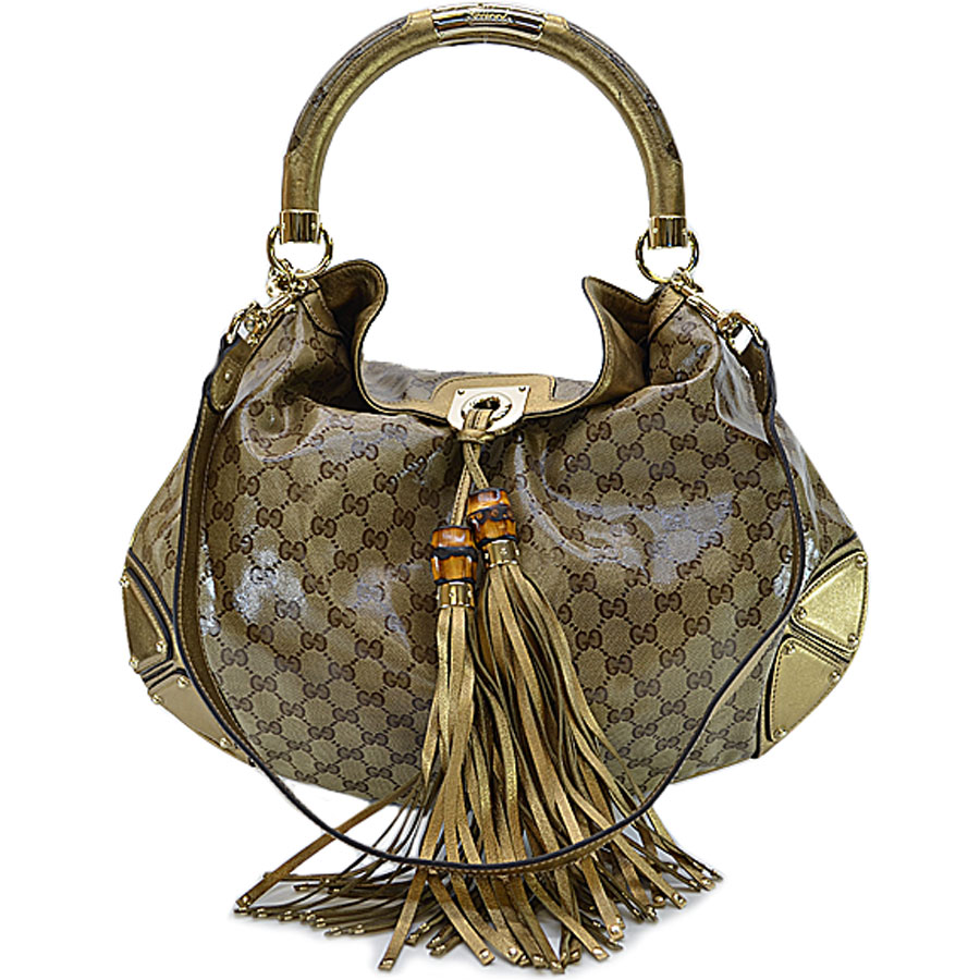 It Is A Gucci Bamboo In Tassel Handbag Shoulder Bag 2way Lady Brown X Gold Pvcx Leather Metal Material Soot Used