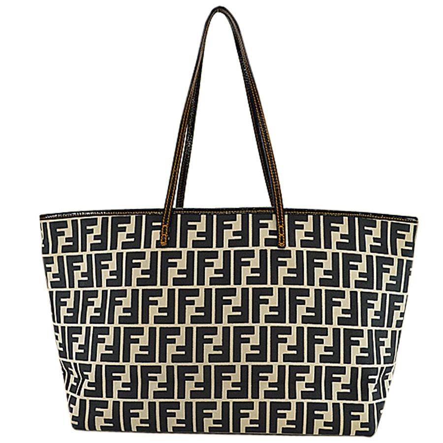 f0004ca833 Fendi FENDI shoulder bag black x white x orange canvas x leather tote bag  Lady's - r6051