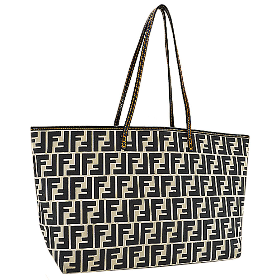 67d03feaf8 Fendi FENDI shoulder bag black x white x orange canvas x leather tote bag  Lady's - r6051