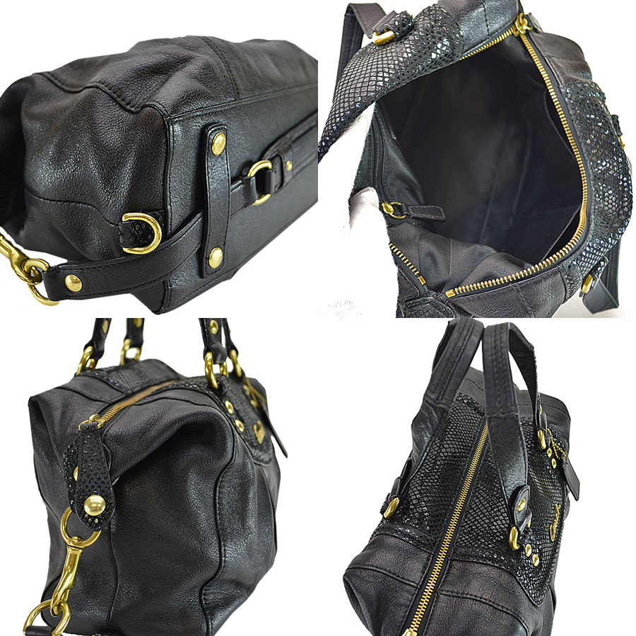 3fde0448 Coach COACH handbag black x gold leather x metal material shoulder bag 2Way  bag lady - r6106