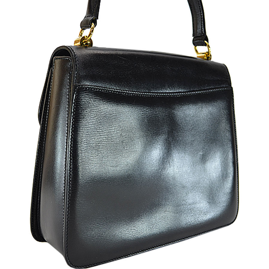 Basic Pority Used A Gucci Vintage Handbag Lady S Black X Gold Green Red Leather Metal Material