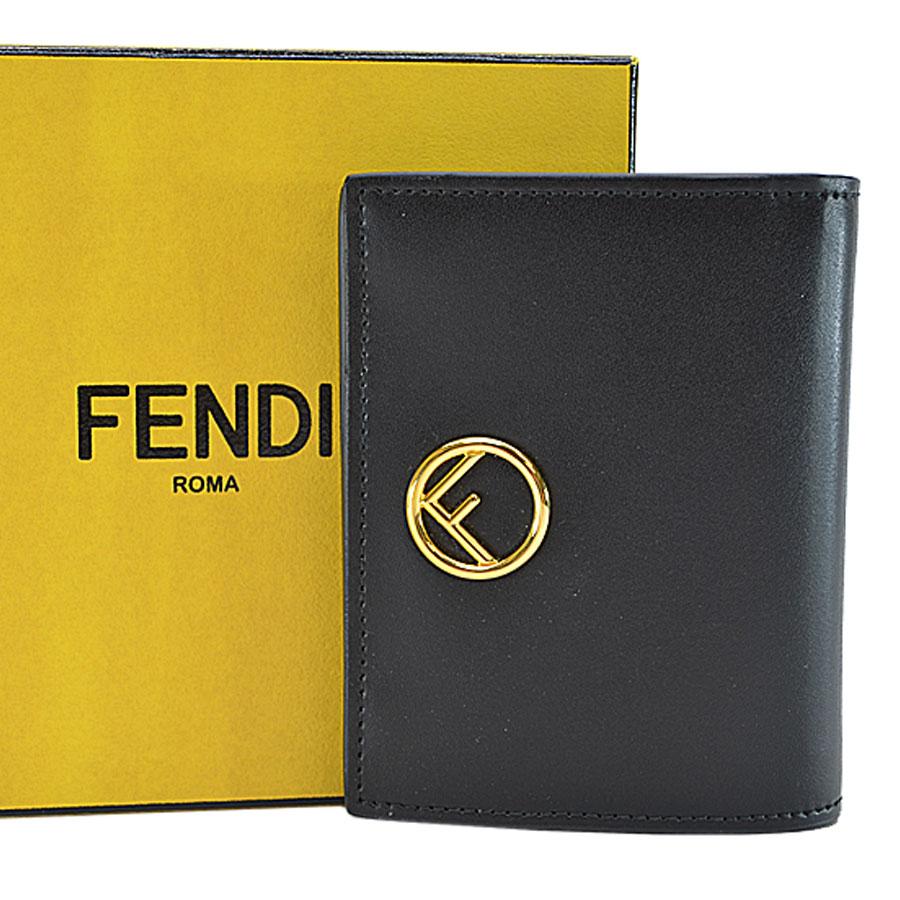 フェンディ FENDI 二つ折り財布 ブラックxゴールド レザーx金属素材 レディース 【中古】【定番人気】 - r6154