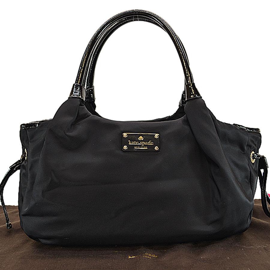 Brandvalue Kate Spade Shoulder Bag Black Nylon X Patent Leather Handbag Lady S R6304 Rakuten Global Market