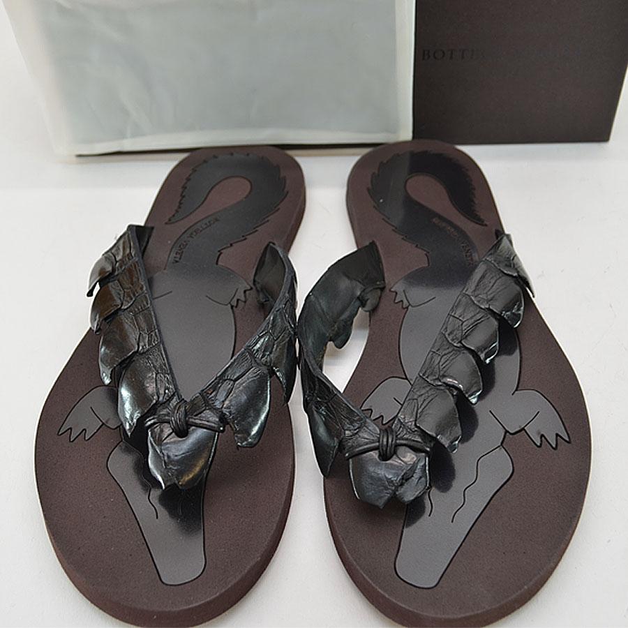 879e6b78bf19  basic popularity   used  ボッテガヴェネタ  BOTTEGA VENETA  sandals (43) men black  x dark brown crocodile x rubber