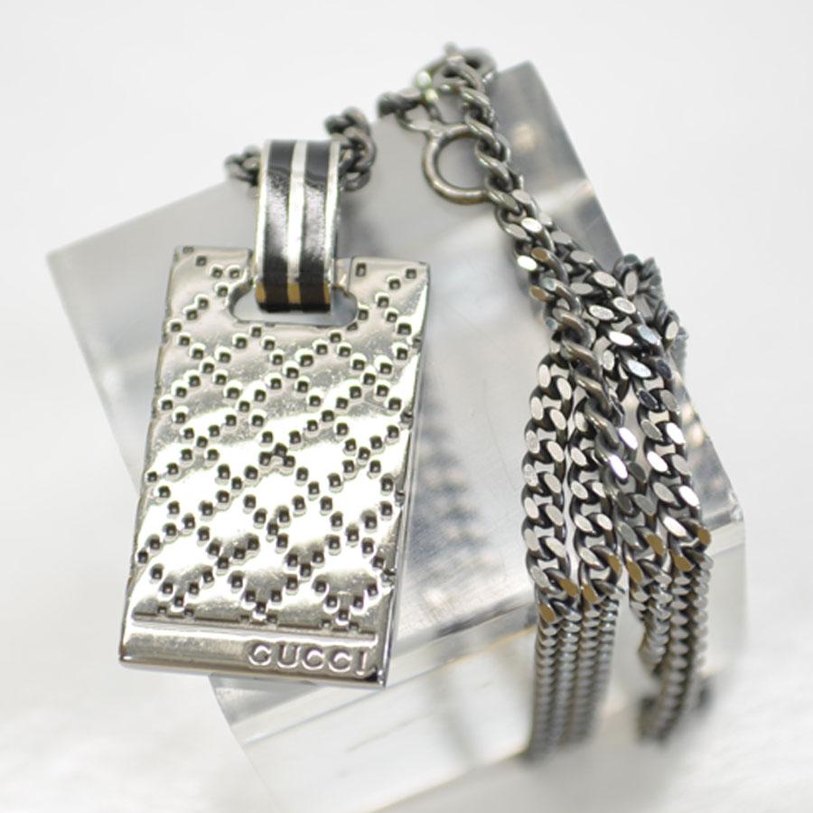 983c23449 BrandValue: Gucci GUCCI necklace logo carved seal Diamante square plate  cancer meta silver sterling silver 925 lady's men's -89,608   Rakuten  Global Market