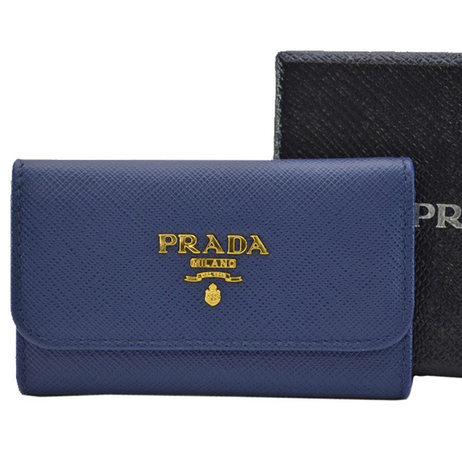 プラダ PRADA 6連キーケース ネイビーxゴールド レザーx金属素材 レディース 【中古】【定番人気】 - k8847