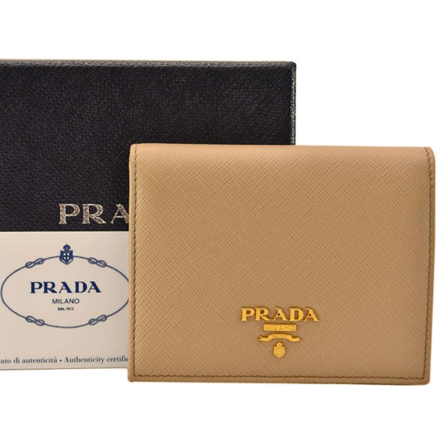 プラダ PRADA 二つ折り財布 ベージュ レザー レディース 【中古】【定番人気】 - k8915
