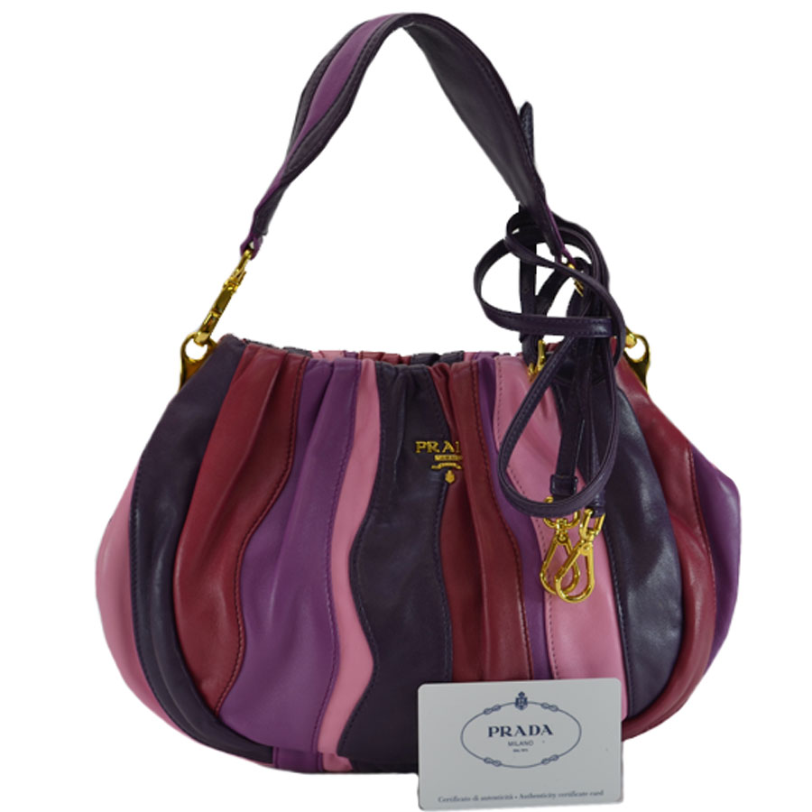 9cfef139214e BrandValue: Take a Prada PRADA handbag purple x red x pink leather x metal  material slant; shoulder bag 2Way bag lady - r6466 | Rakuten Global Market