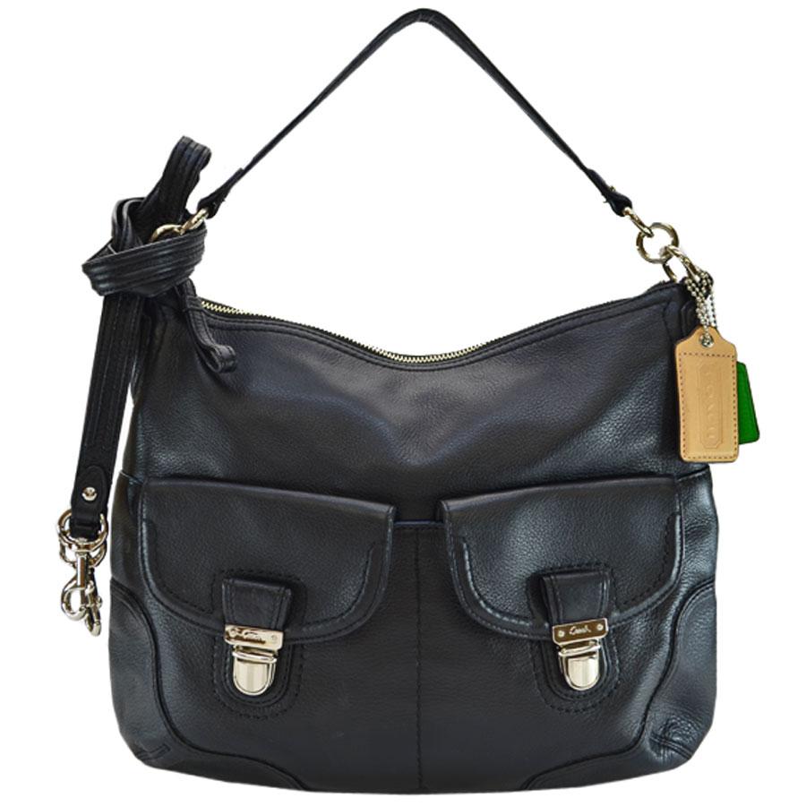 aaf1e4f2 Take coach COACH shoulder bag black x silver leather x metal material  slant; shoulder bag 2Way bag lady - r6489