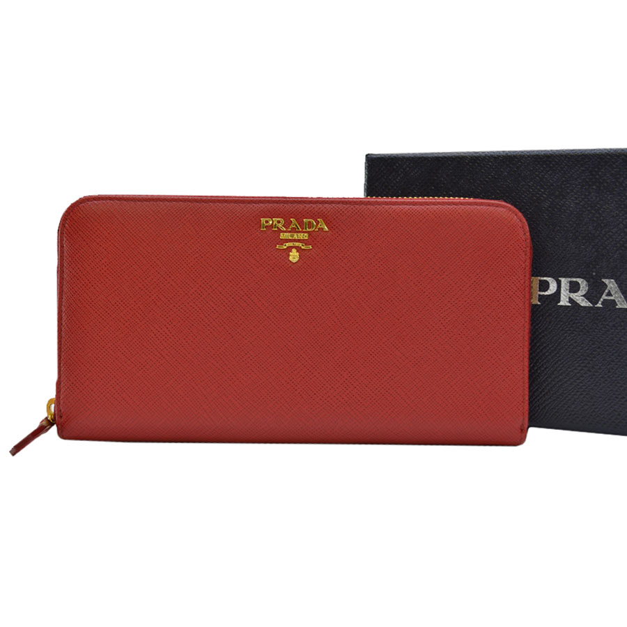 927ac1285af  basic popularity   used  a Prada  PRADA  round fastener long wallet Lady s  red x gold leather x metal material