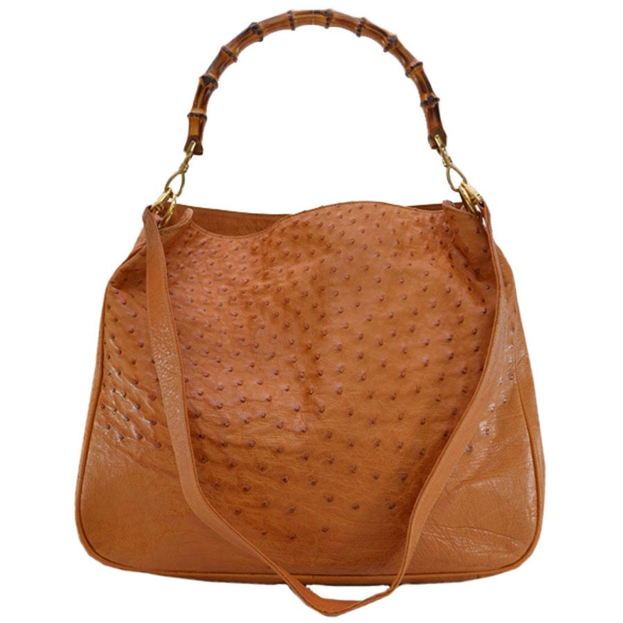 fffa35c48afd40 BrandValue: Gucci GUCCI shoulder bag bamboo light brown ostrich leather  2Way bag lady - r6720 | Rakuten Global Market