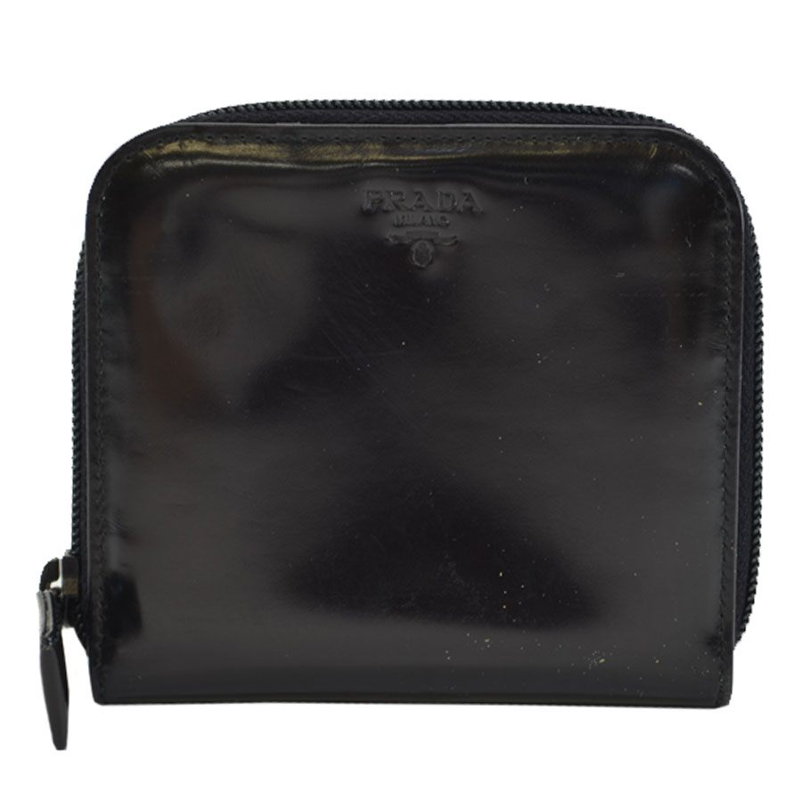 39d3bbbffec  basic popularity   used  Prada  PRADA  round fastener wallet Lady s black  patent leather