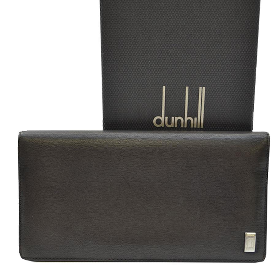 ダンヒル dunhill 長札入れ ダークブラウンxシルバーカラー レザーx金属素材 二つ折り メンズ 【中古】【おすすめ】 - s0014