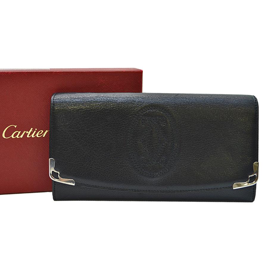 カルティエ Cartier 長財布 マルチェロ ブラックxシルバーカラー レザーx金属素材 二つ折り レディース メンズ 【中古】【定番人気】 - s0035