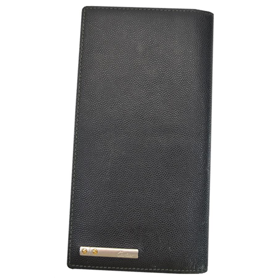 カルティエ Cartier 二つ折り長財布 サントス ◆ブラックxシルバーカラーxゴールドカラー レザーx金属素材◆【中古】 ◆メンズ - s0142