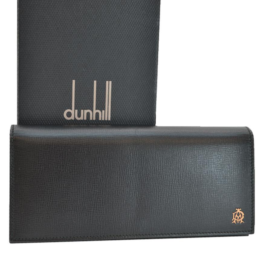 ダンヒル dunhill 長財布 ブラックxゴールドカラー レザーx金属素材 二つ折り メンズ 【中古】【おすすめ】 - s0179