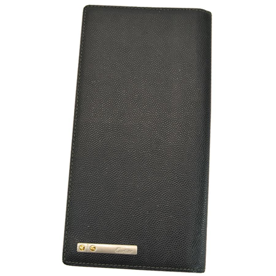 カルティエ Cartier 二つ折り 長財布 サントス ◆ブラックxシルバーカラーxゴールドカラー レザーx金属素材◆【中古】◆メンズ - s0181