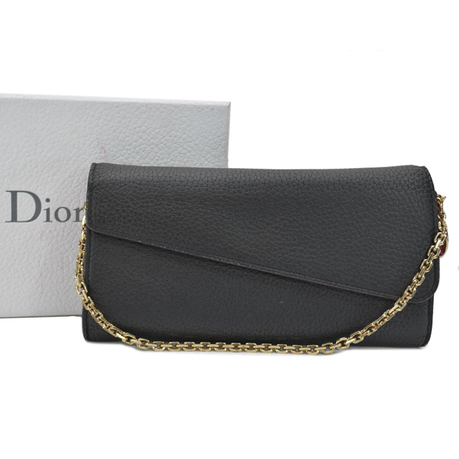 クリスチャンディオール Christian Dior 長財布 ブラックxゴールドカラー レザーx金属素材 二つ折り チェーンストラップ レディース 【中古】【定番人気】 - s0187