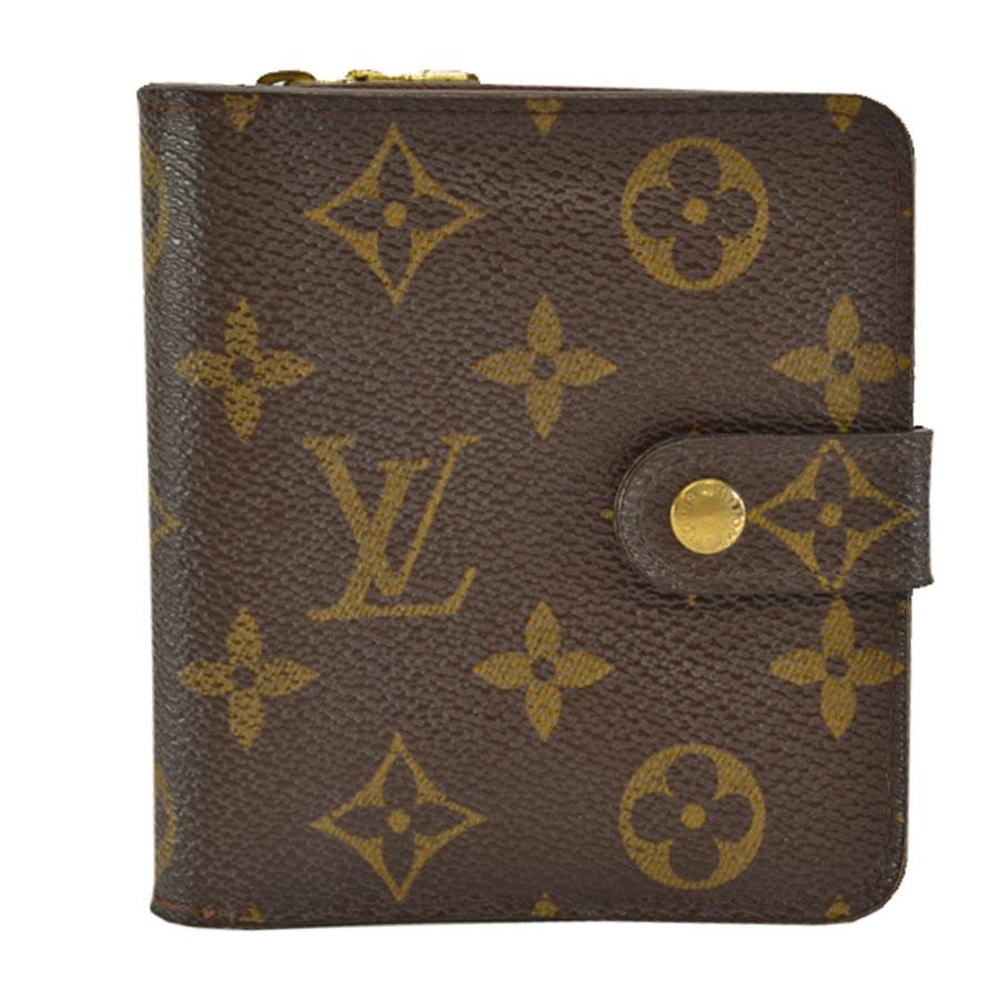ルイヴィトン Louis Vuitton 財布 モノグラム コンパクトジップ ブラウン モノグラムキャンバス 二つ折り レディース M61667 【中古】【定番人気】 - s0479