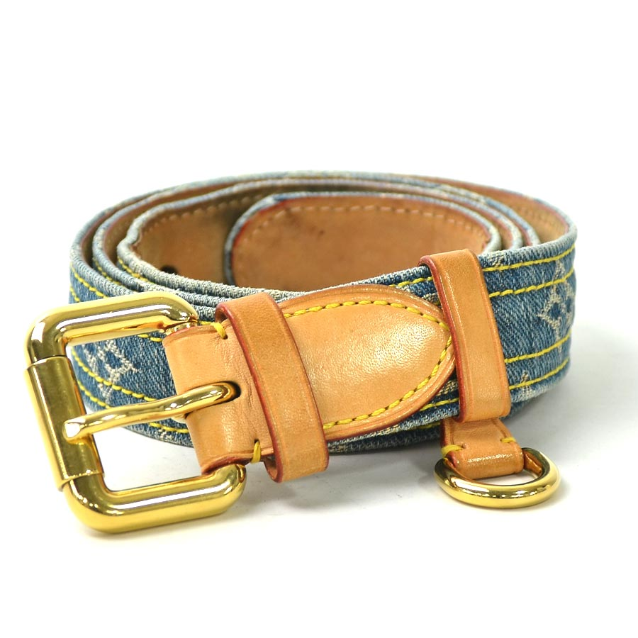 e2debf0c2b4a  used  Louis Vuitton  Louis Vuitton  monogram denim sun Tulle denim belt  (90 36) lady s men s blue monogram denim canvas constant seller popularity