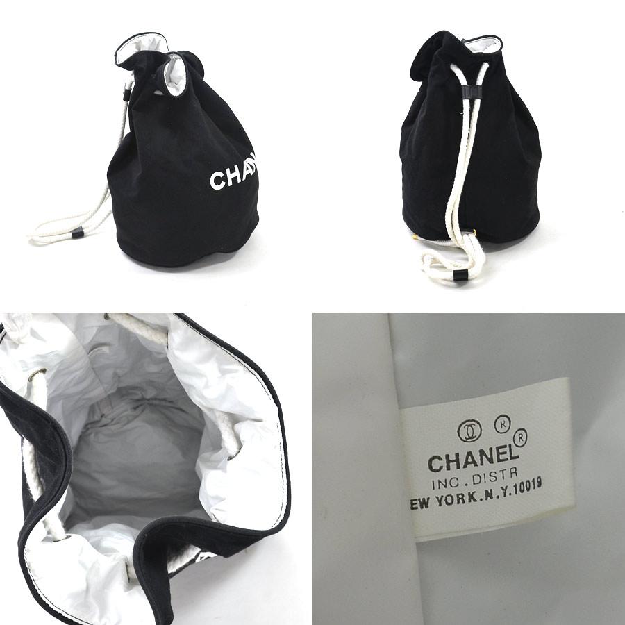 7542346013150e [used] The Chanel [CHANEL] shoulder bag drawstring purse bag lady black x  white outside: The canvas inside: Nylon novelty
