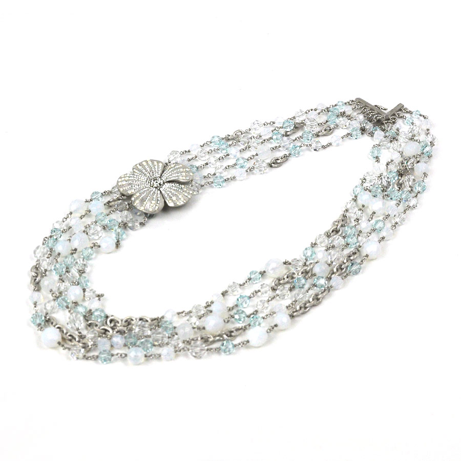 Chanel CHANEL necklace ◇ white x light blue x silver beads x stone x metal  material ◇ recommended ◇ Lady's -92,928