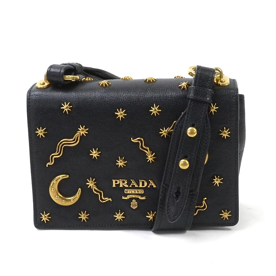 basic popularity   used  a Prada  PRADA  shoulder bag Lady s NERO (black x  gold) leather x metal material b6fb68cddd
