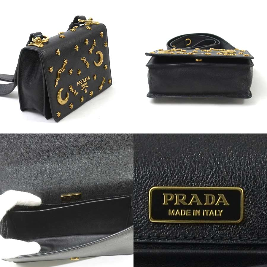 218a4282c0db  basic popularity   used  a Prada  PRADA  shoulder bag Lady s NERO (black x  gold) leather x metal material