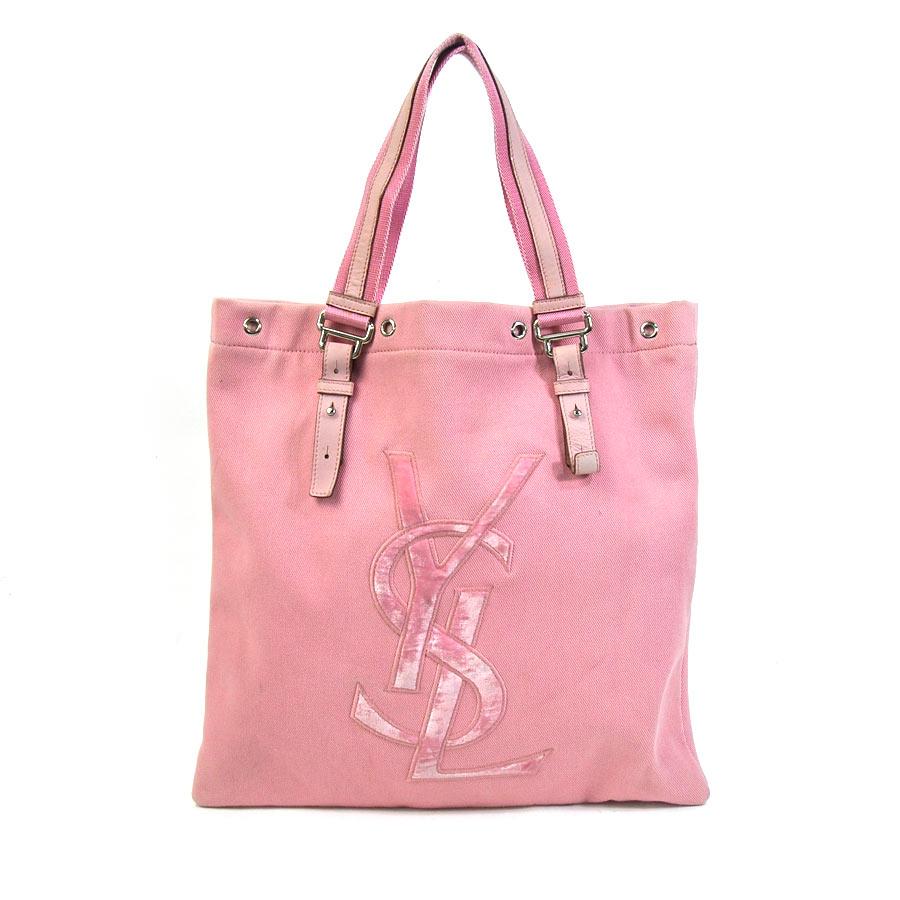 9dff3f8c8e3fe  basic popularity   used  Yves Saint-Laurent  YVES SAINT LAURENT  logo tote  bag Lady s pink canvas
