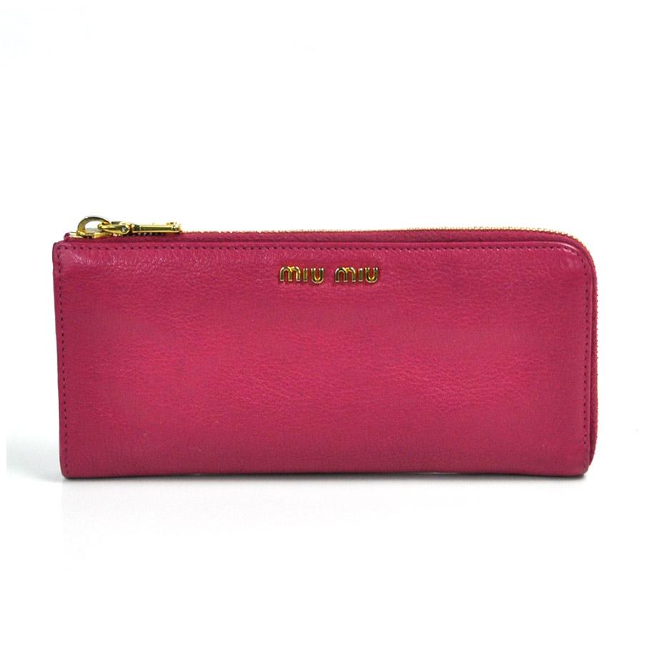 ミュウミュウ MIUMIU L字ファスナー長財布 ◆PEONIA(ピンク) レザー ◆定番人気 ◆レディース【中古】 - x1822