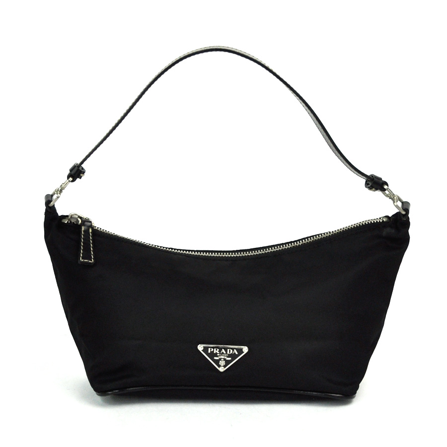 5b8ec10839  used  Prada  PRADA  triangle logo plate mini-shoulder bag accessories  porch Lady s NERO (black) nylon x leather constant seller popularity