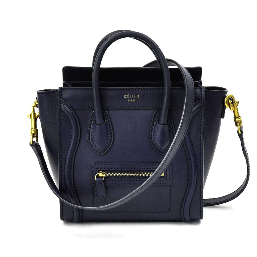 used  It is Celine  CELINE  luggage nano shopper mini-handbag Lady s navy  leather soot 4ad5858a53bf5